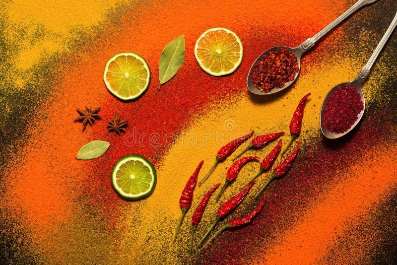 各种各样的香料背景,红色,桔子,黄色 辣椒粉,姜黄,茴香,月桂叶,辣椒,石灰,番红花 被分类的spic 免版税库存图片