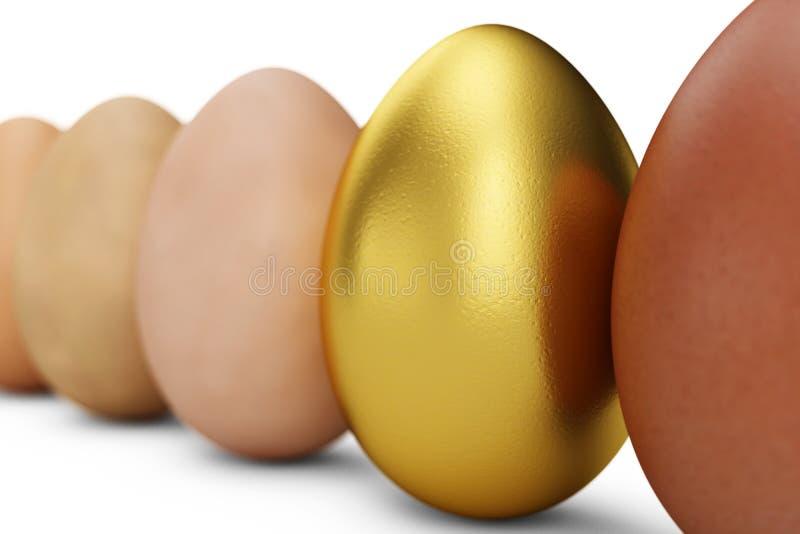 各种各样的鸡蛋行  在焦点金鸡蛋 唯一的鸡蛋 复活节快乐,3d例证 库存图片