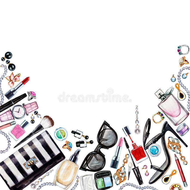 各种各样的水彩女性辅助部件框架  构成产品 向量例证