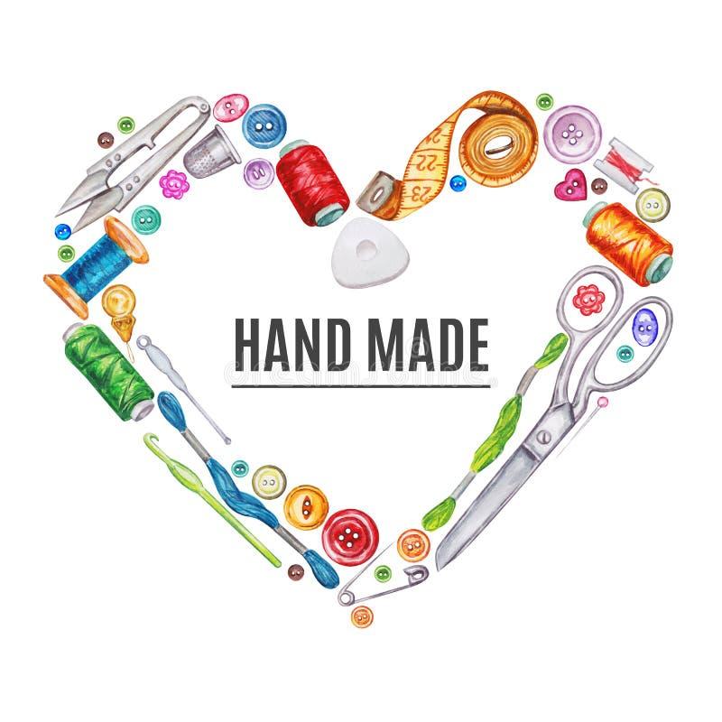 各种各样的水彩缝合的工具心脏框架  棉花工具箱针缝合的顶针 向量例证