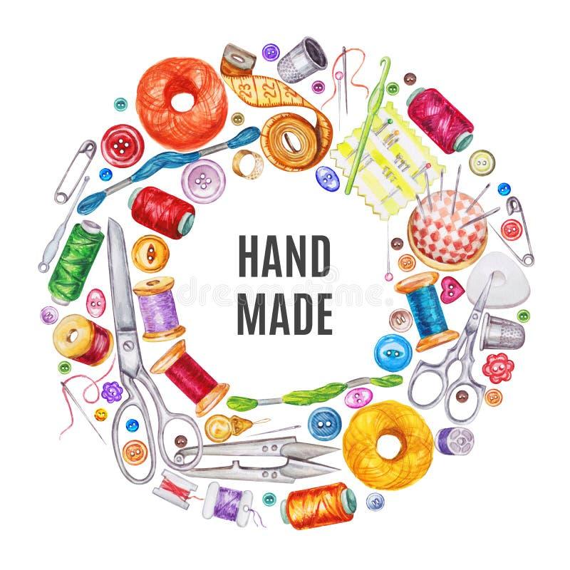 各种各样的水彩缝合的工具框架  棉花工具箱针缝合的顶针 向量例证