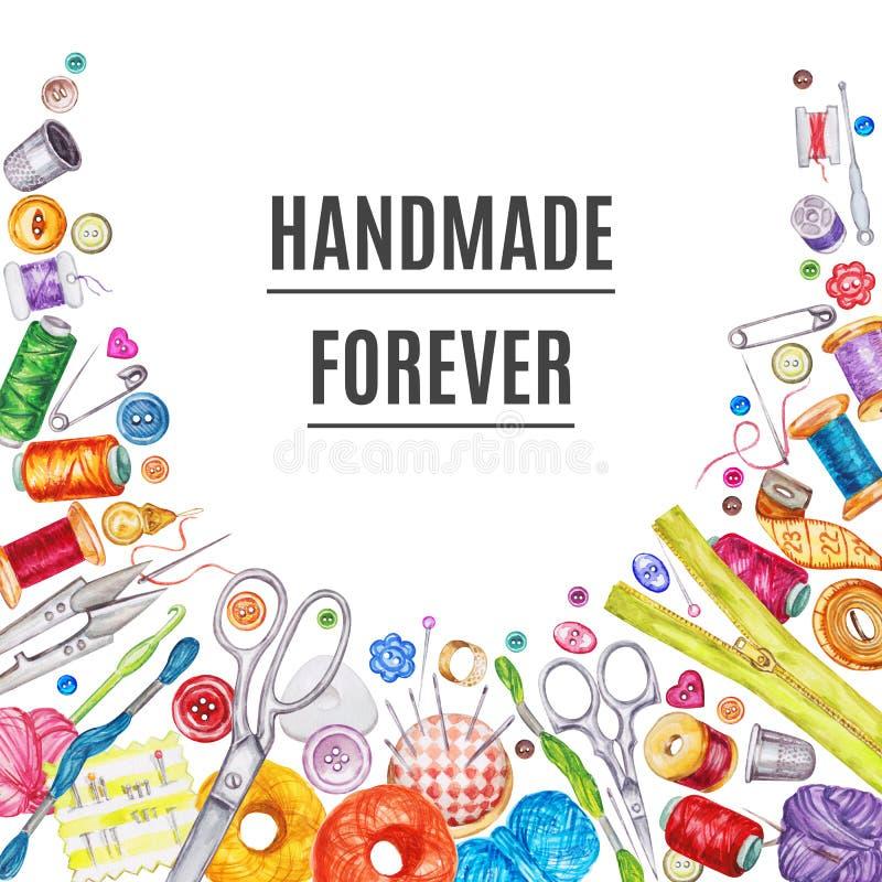 各种各样的水彩缝合的工具框架  棉花工具箱针缝合的顶针 库存例证
