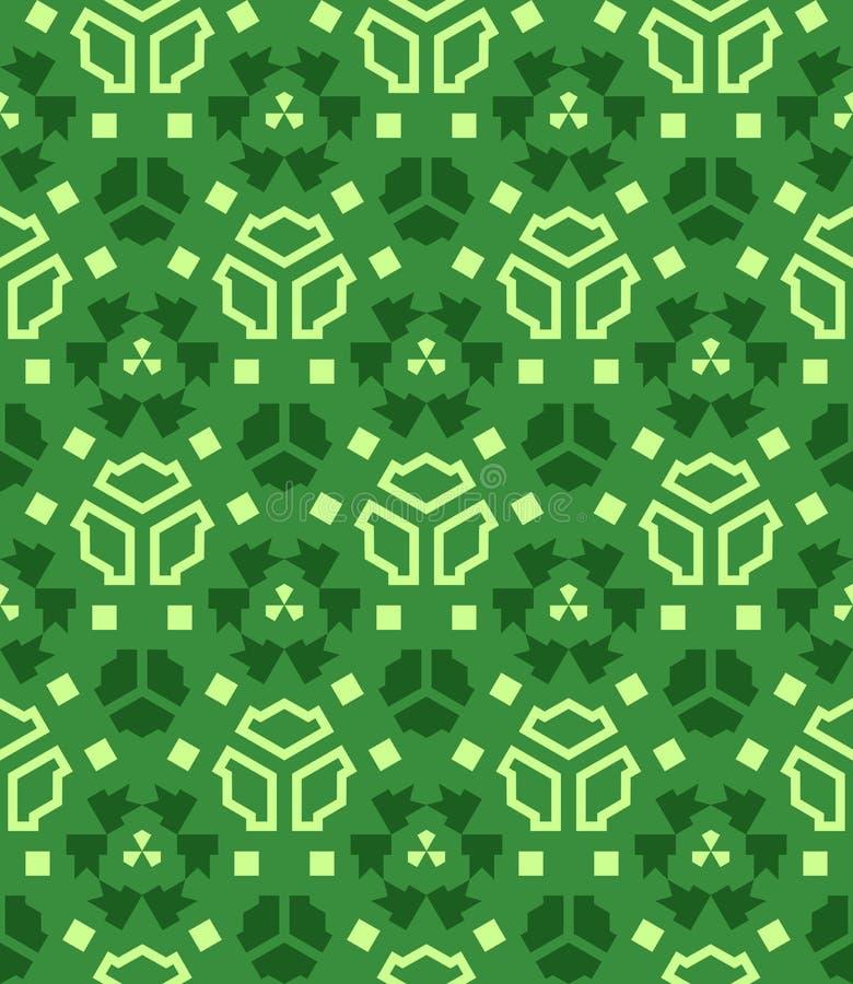 各种各样的绿色摘要几何无缝的样式 库存例证