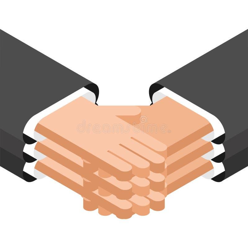 合作企业协议握手 协议结论  互利合作 皇族释放例证