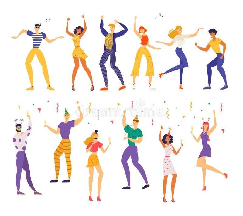 合作佩带的欢乐帽子庆祝与在手中闪烁发光物和香宾玻璃的愉快的人朋友假日 向量例证