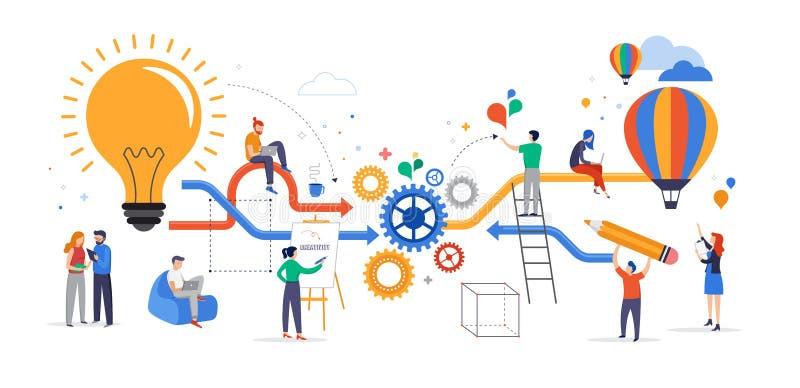 合作小组年轻的商人,解决问题,考虑创造性的想法、激发灵感和配合 库存例证