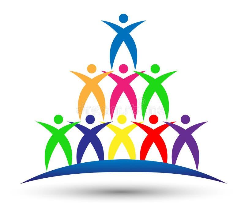合作工作商标,合作,教育,在白色背景的庆祝成功的人象标志 向量例证