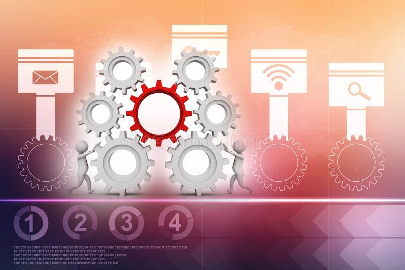 合作工作概念,商人与齿轮一起使用 机会 库存例证