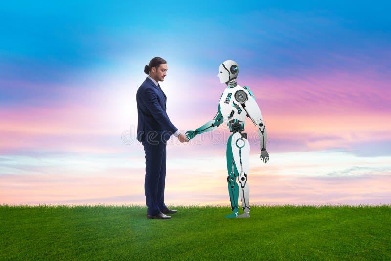 合作的概念在人和机器人之间的 库存例证
