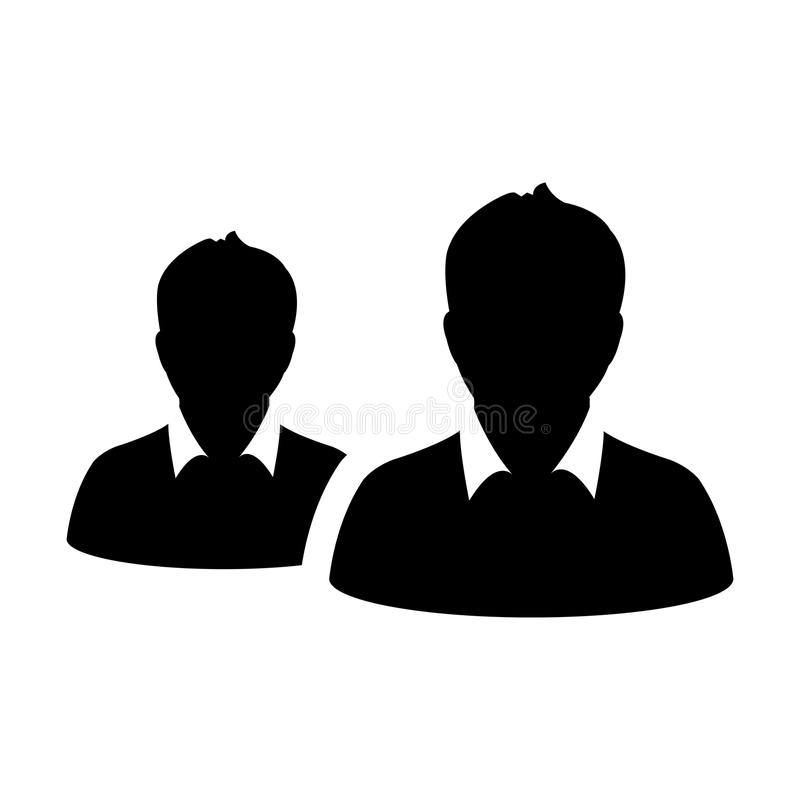 合作象传染媒介男性小组人业务管理队的标志具体化在平的颜色纵的沟纹图表 皇族释放例证