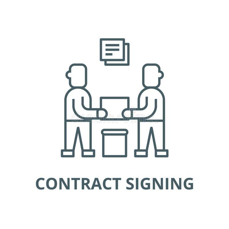 合作,合同签署的传染媒介线象,线性概念,概述标志,标志 向量例证