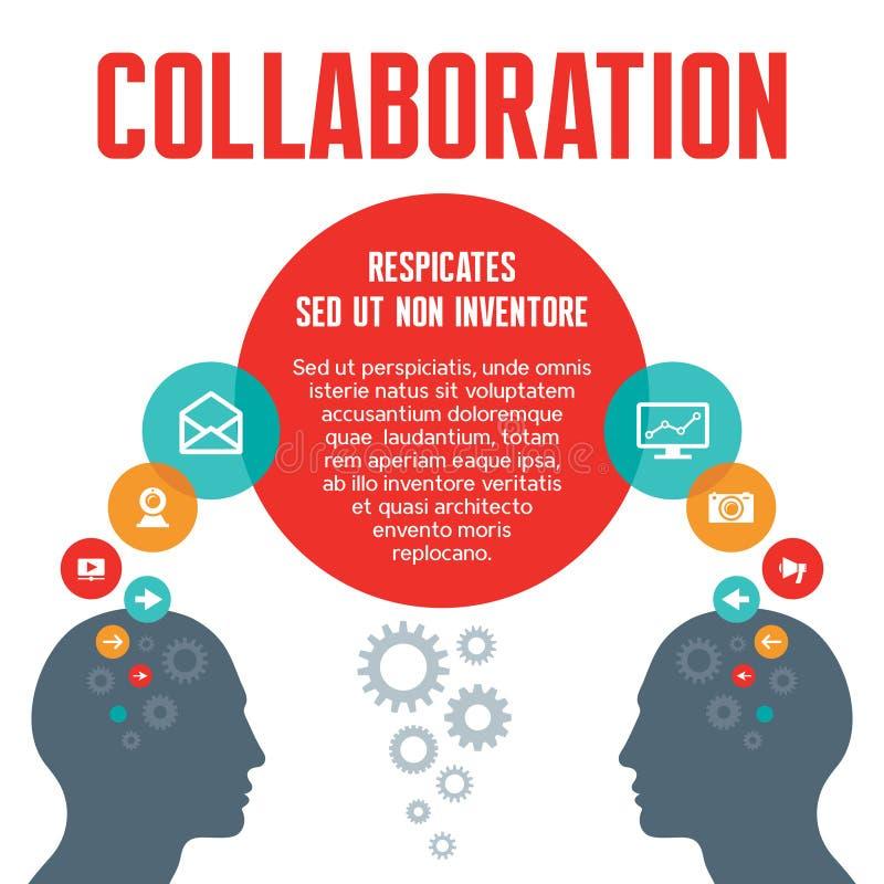 合作-传染媒介与头的概念例证 库存例证