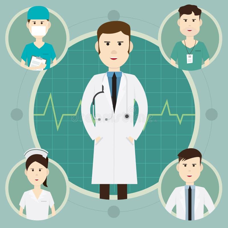 合作医护人员和小组医生在医院illus 向量例证