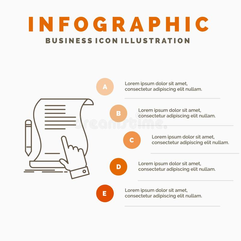 合同、文件、纸、标志、协议、应用Infographics模板网站的和介绍 E 皇族释放例证