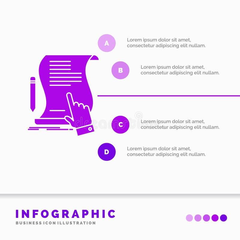 合同、文件、纸、标志、协议、应用Infographics模板网站的和介绍 r 皇族释放例证