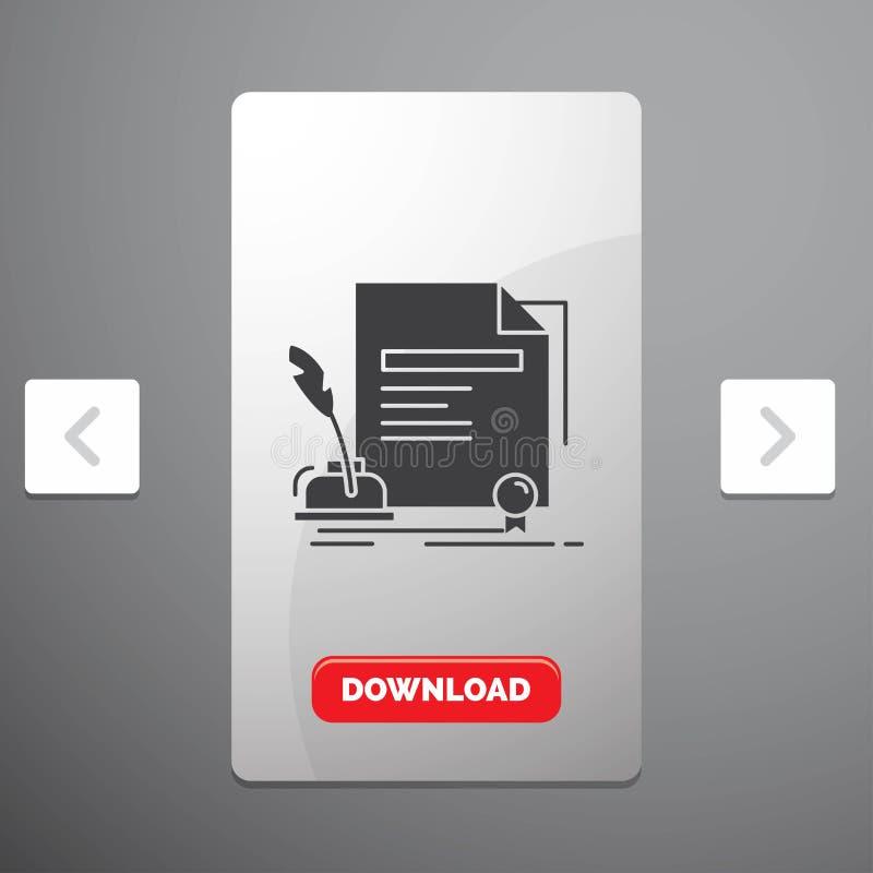 合同、纸、文件、协议、奖纵的沟纹象在喧闹的酒宴页码滑子设计&红色下载按钮 库存例证