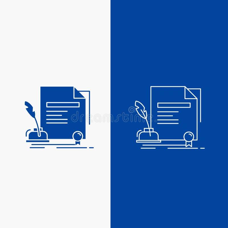 合同、纸、文件、协议、奖线和纵的沟纹在蓝色垂直的横幅的网按钮UI和UX的,网站或 向量例证