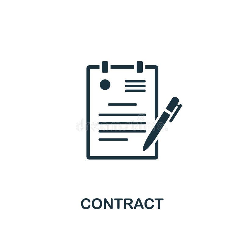 合同创造性的象 简单的元素例证 合同概念从人力资源汇集的标志设计 为w完善 向量例证