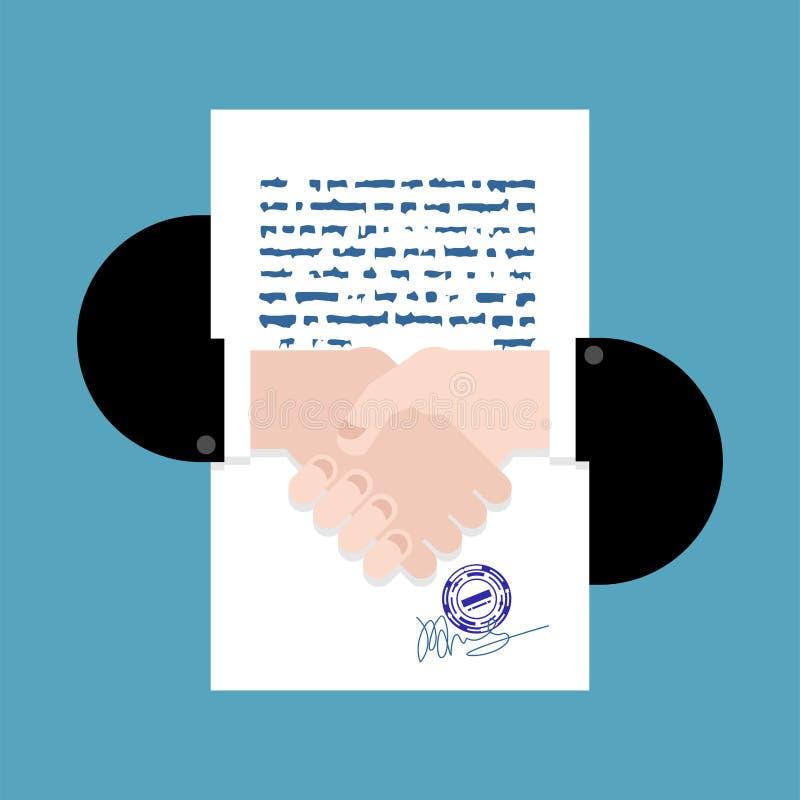 合同和握手标志 交易的签字的合同标志 向量例证