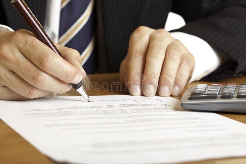 合同庄园实际签字 免版税库存图片