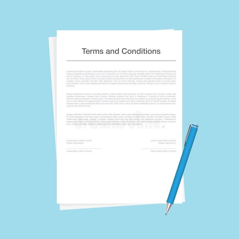 合同或在蓝色背景隔绝的期限和条件文件 与说谎在旁边的笔的公司形式 库存例证