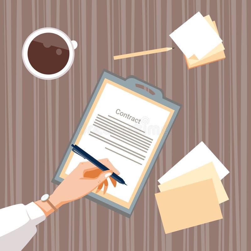 合同报名参加纸张文件商人协议笔署名办公桌 库存例证
