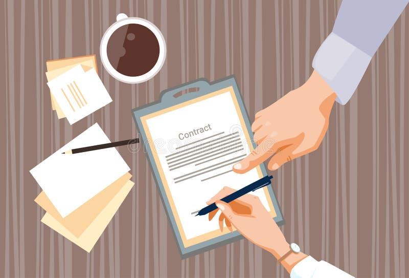 合同报名参加纸张文件商人协议笔署名办公桌 向量例证