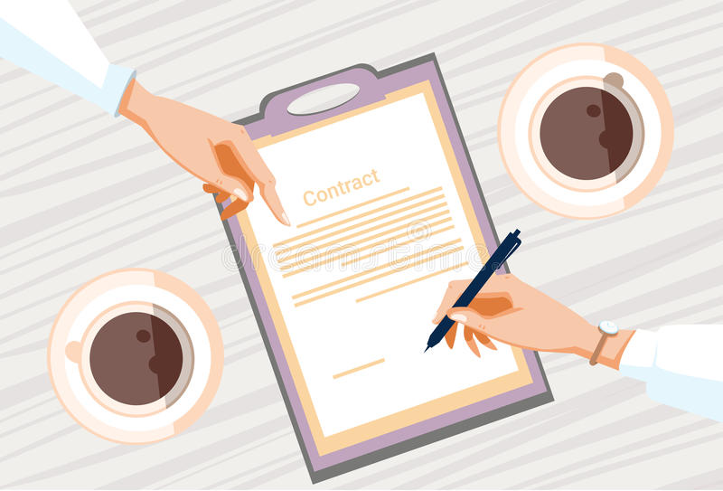 合同报名参加纸张文件商人协议笔署名办公桌 皇族释放例证