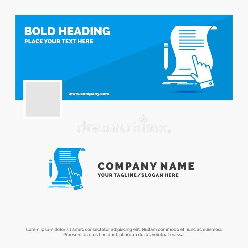 合同的,文件,纸,标志,协议,应用蓝色企业商标模板 r ?? 皇族释放例证