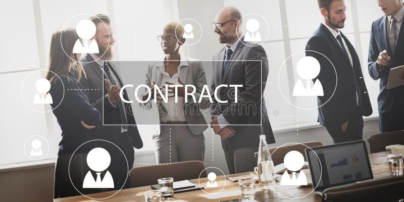 合同约定诺言承包商收缩概念 库存照片