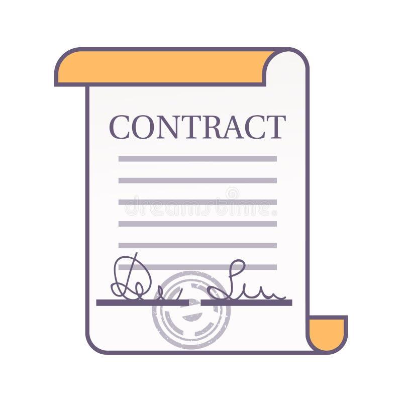合同象 与海的签字的条约 皇族释放例证