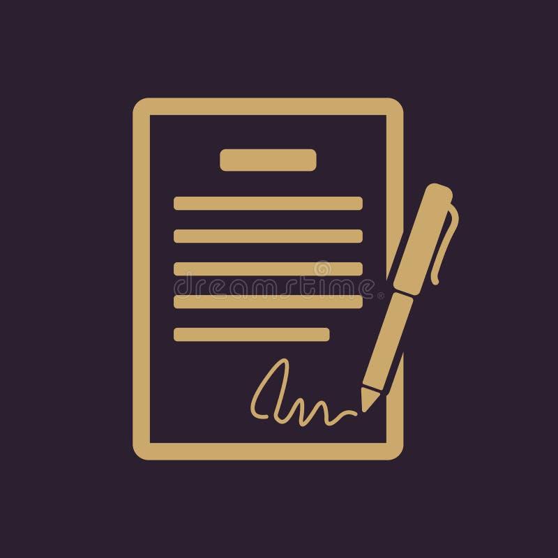 合同象 协议和署名,契约,协议,大会标志 平面 向量例证