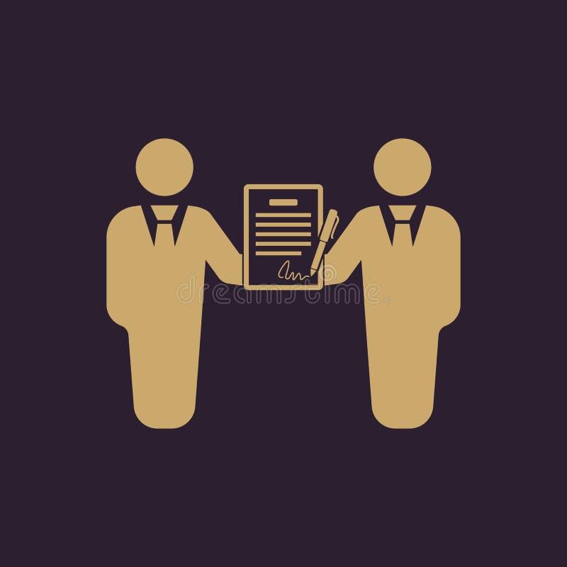 合同象 协议和署名,契约,合作,交涉标志 平面 向量例证