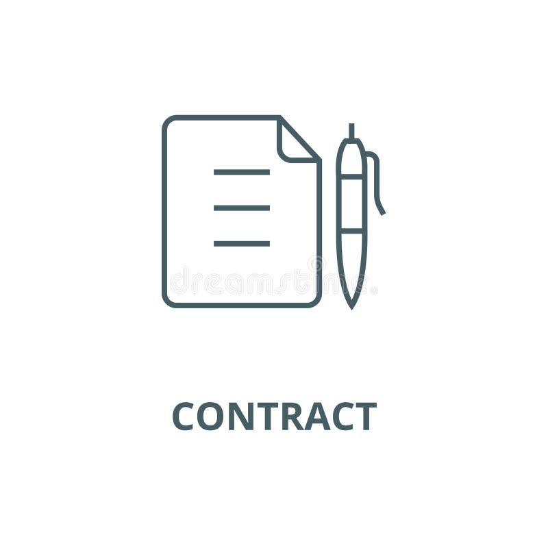 合同,与笔线象,传染媒介的文件 合同,与笔概述标志,概念标志的文件,平展 库存例证