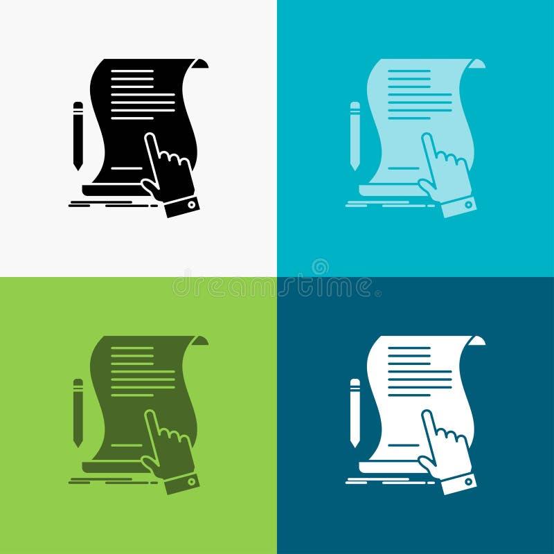 合同,文件,纸,标志,协议,在各种各样的背景的应用象 r 皇族释放例证