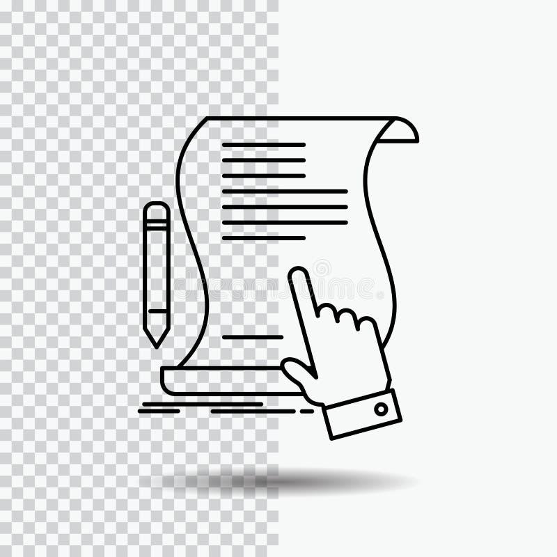 合同,文件,纸,标志,协议,在透明背景的应用线象 r 皇族释放例证