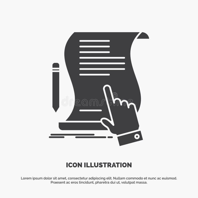 合同,文件,纸,标志,协议,应用象 UI的纵的沟纹传染媒介灰色标志和UX、网站或者机动性 皇族释放例证