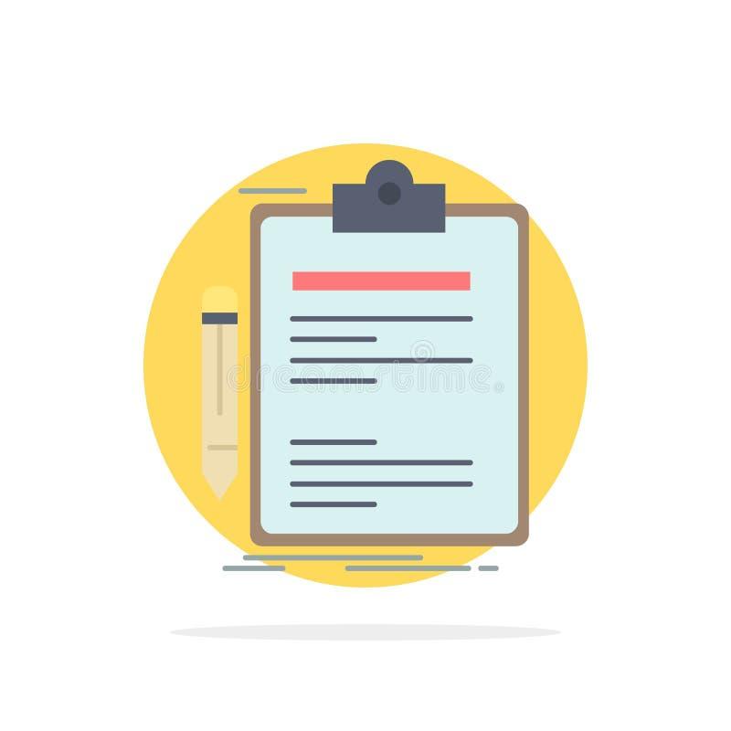 合同,检查,业务,完成,剪贴板平整颜色图标矢量 库存例证
