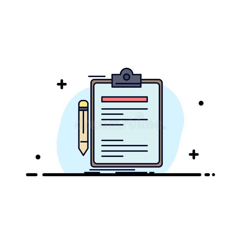 合同,检查,业务,完成,剪贴板平整颜色图标矢量 皇族释放例证