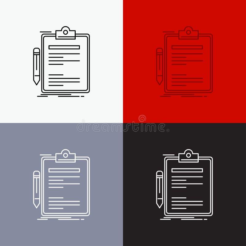 合同,检查,生意,被做,在各种各样的背景的笔记板象 r 10 eps 库存例证