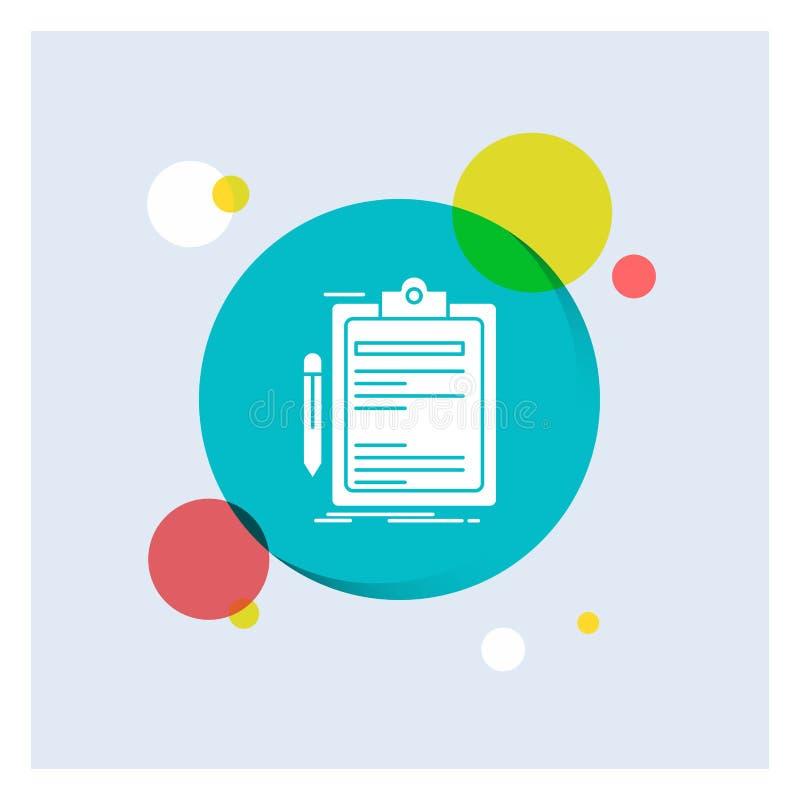 合同,检查,生意,被做,笔记板白色纵的沟纹象五颜六色的圈子背景 库存例证