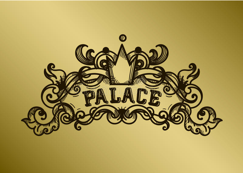 组合图案板刻设计优美的模板 书法线艺术商标设计 皇族,名片,精品店,旅馆 向量例证