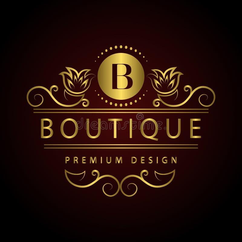 组合图案设计元素,优美的模板 书法典雅的线艺术商标设计信件餐馆的, Ro象征B身分 向量例证