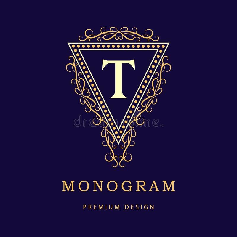 组合图案设计元素,优美的模板 书法典雅的线艺术商标设计 信函t 皇族的, Bouti企业标志 皇族释放例证