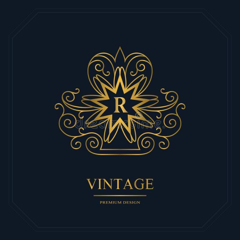 组合图案设计元素,优美的模板 书法典雅的线艺术商标设计 在象征上写字签署皇族的,事务R 向量例证
