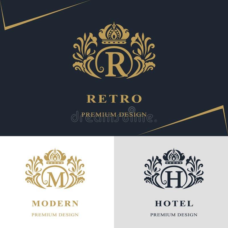 组合图案设计元素,优美的模板 书法典雅的线艺术商标设计 在象征上写字签署R, M,皇族的H 库存例证