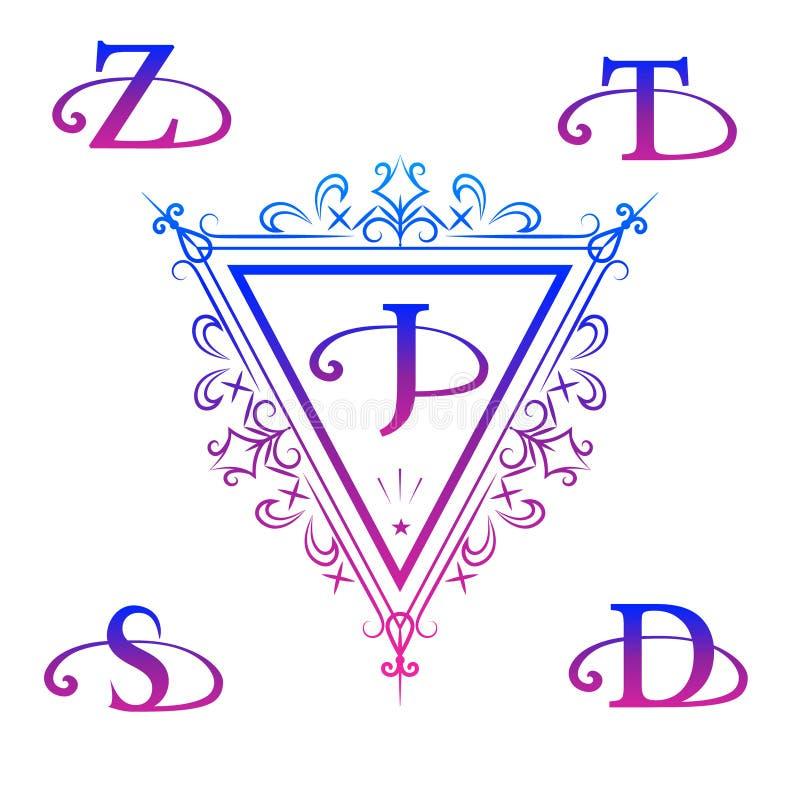 组合图案设计元素,优美的模板 书法典雅的线艺术商标设计 在象征J, S, D, Z, T上写字 背景美好的大空白名片空的重点现有量藏品查出符号微笑的白人妇女 向量例证