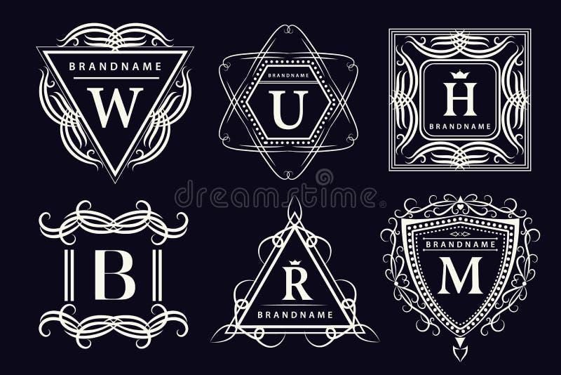 组合图案设计元素,优美的模板 书法典雅的线艺术商标设计 象征信件 皇族的企业标志, 皇族释放例证