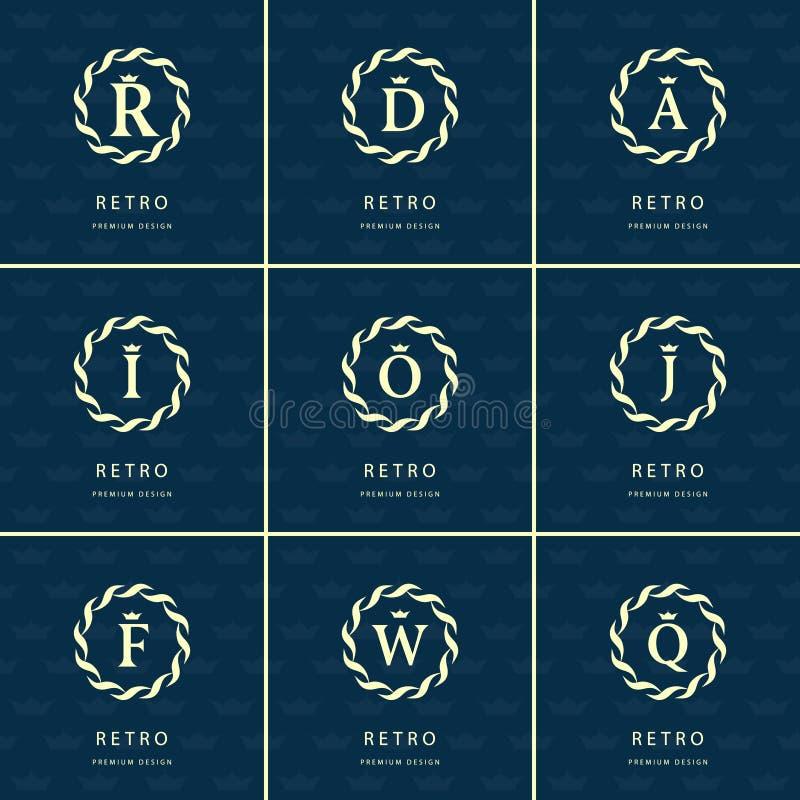 组合图案设计元素,优美的模板 书法典雅的线艺术商标设计 库存例证