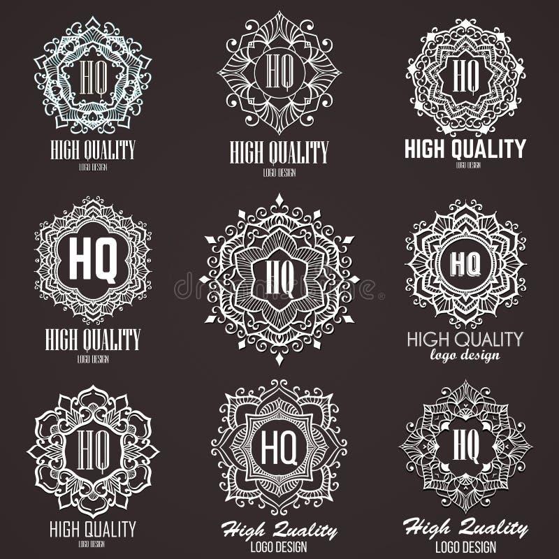 组合图案设计元素,优美的模板 书法线艺术商标设计 向量例证